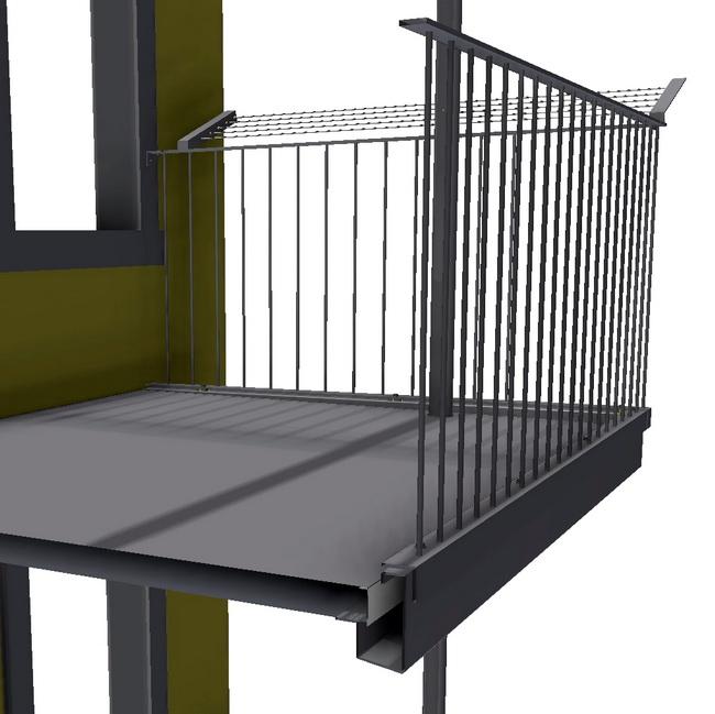 metall werk z rich ag metallbalkone mit gel nder f r mehrfamilienhaus. Black Bedroom Furniture Sets. Home Design Ideas